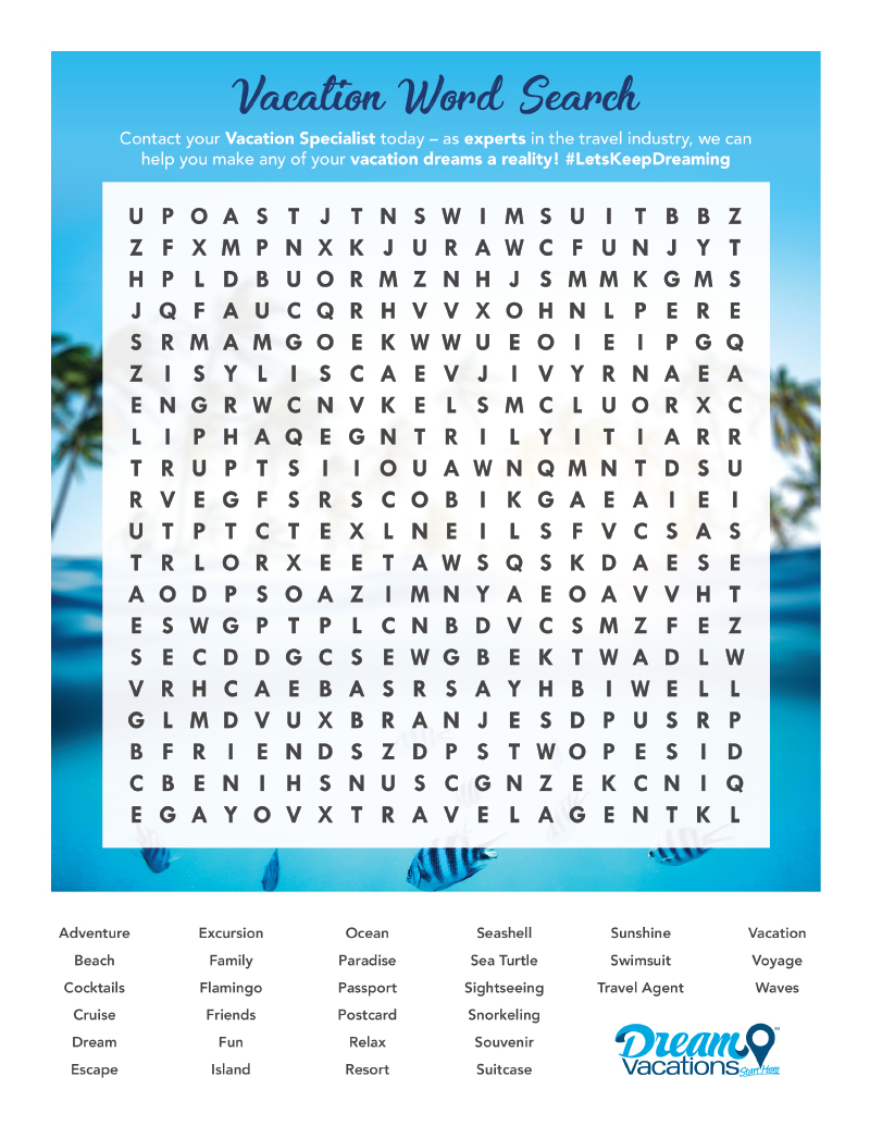 Vacation Word Search Preview Image