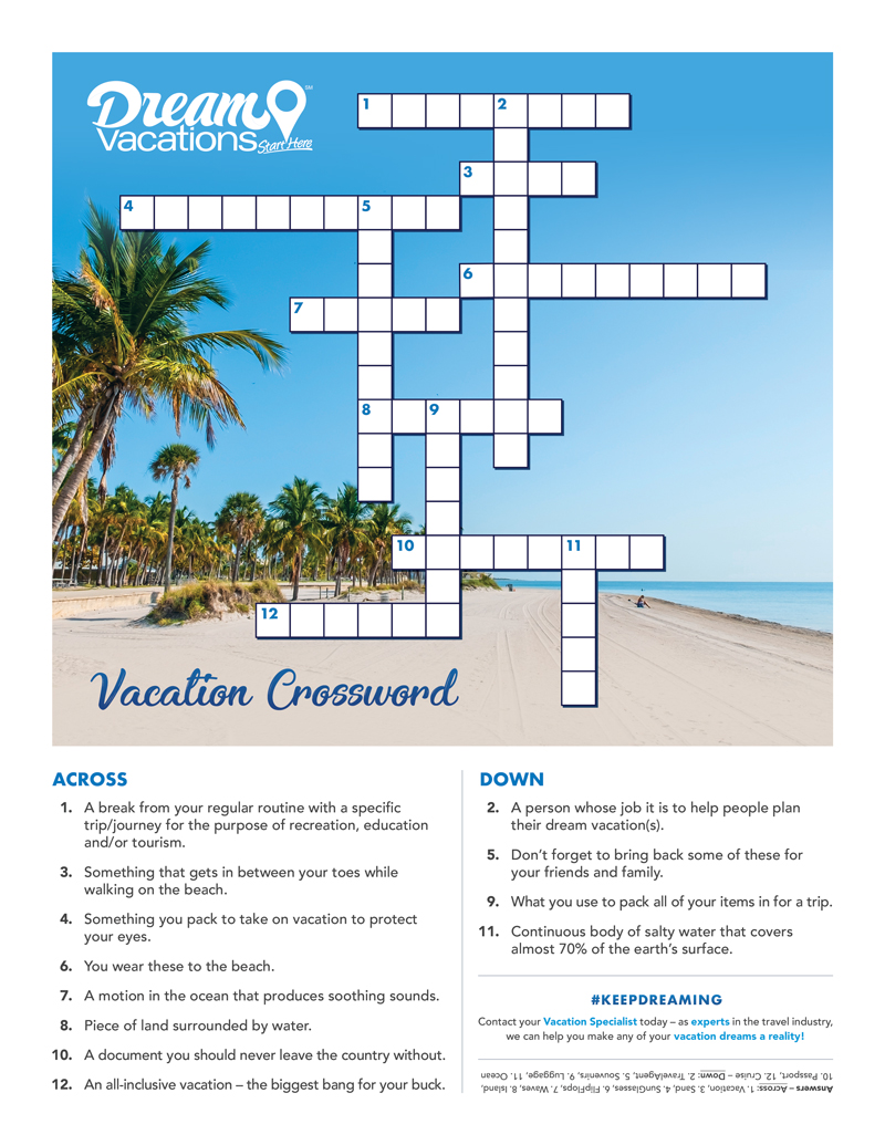 Vacation Crossword Preview Image